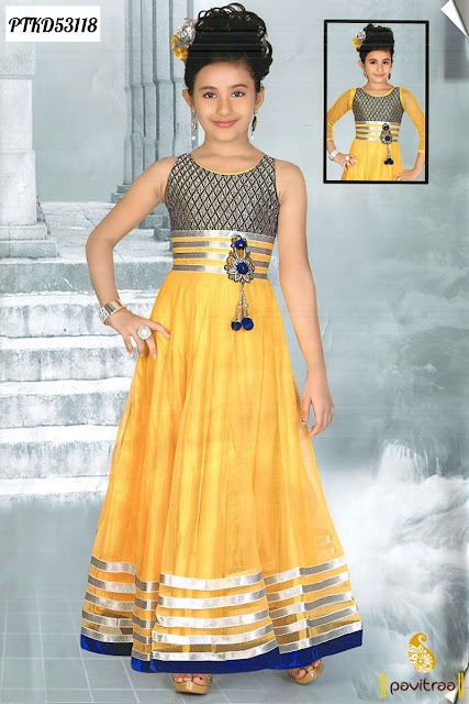 Yellow color net baby girls anarkali dress for wedding wear New Year 2016 online shopping at pavitraa.in