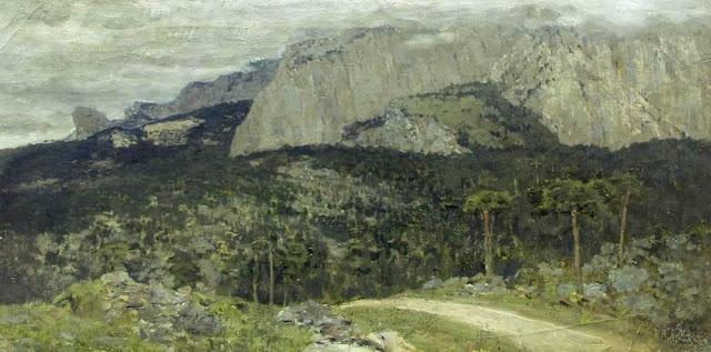 Исаак Ильич Левитан - Серый день. Горы. Крым. 1886