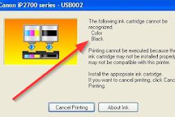 Cara Mengatasi Catridge Printer Tidak Terdeteksi, Canon IP2770