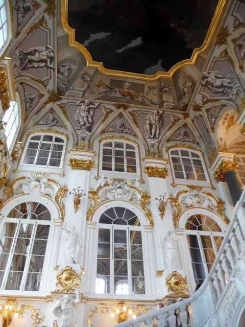 The grand staircase of the Winter Palace, St. Petersburg
