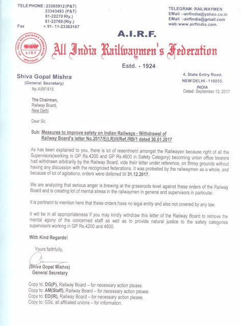 airf-letter-to-railway-board-safety-cadre