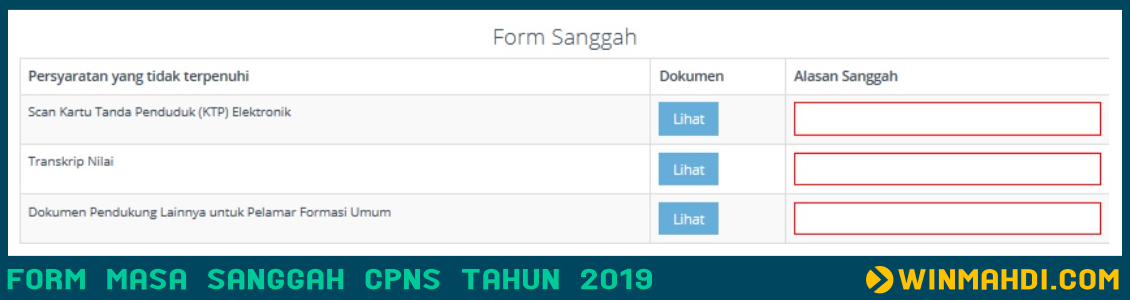 Form Massa Sanggah CPNS Tahun 2019