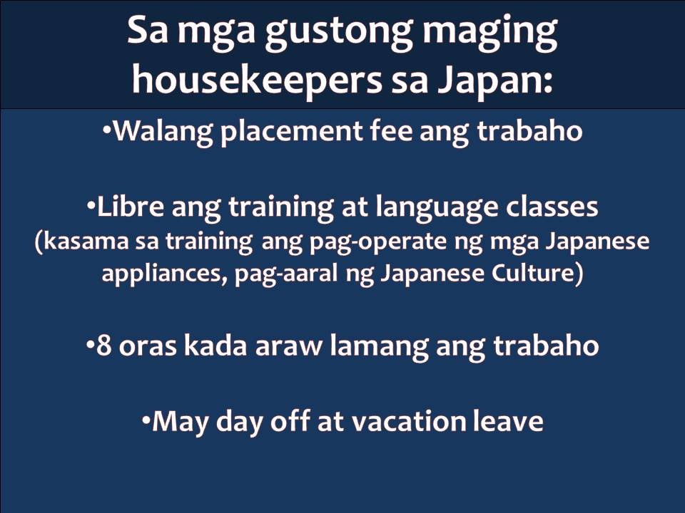 Hiring A Housekeeper japan is in need of housekeepers with p70,000 monthly salary