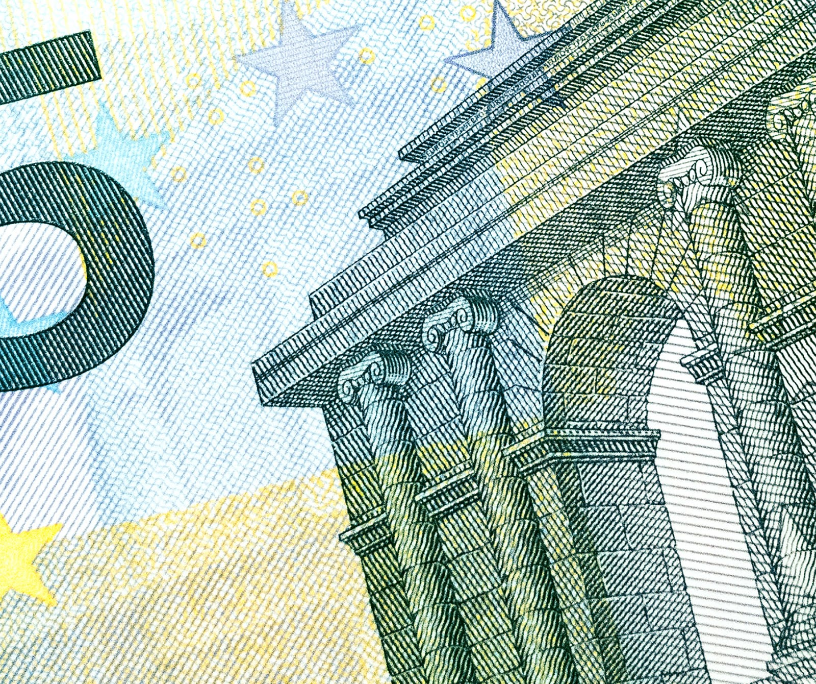 Section of a Euro banknote