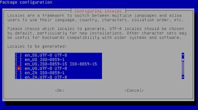 Kemudian pilih /select bahasa en_US.UTF-8 UTF-8 dan id_ID.UTF-8 UTF-8 dengan cara menekan spasi untuk memilih kemudian tab OK