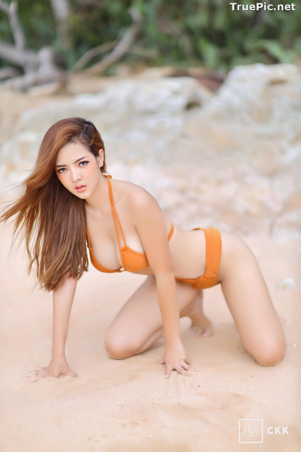 Image Thailand Model - Montakan Kaengraeng - Sexy Orange Bikini - TruePic.net - Picture-5