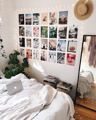 dorm room decor photos on wall