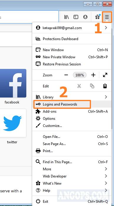 backup password firefox