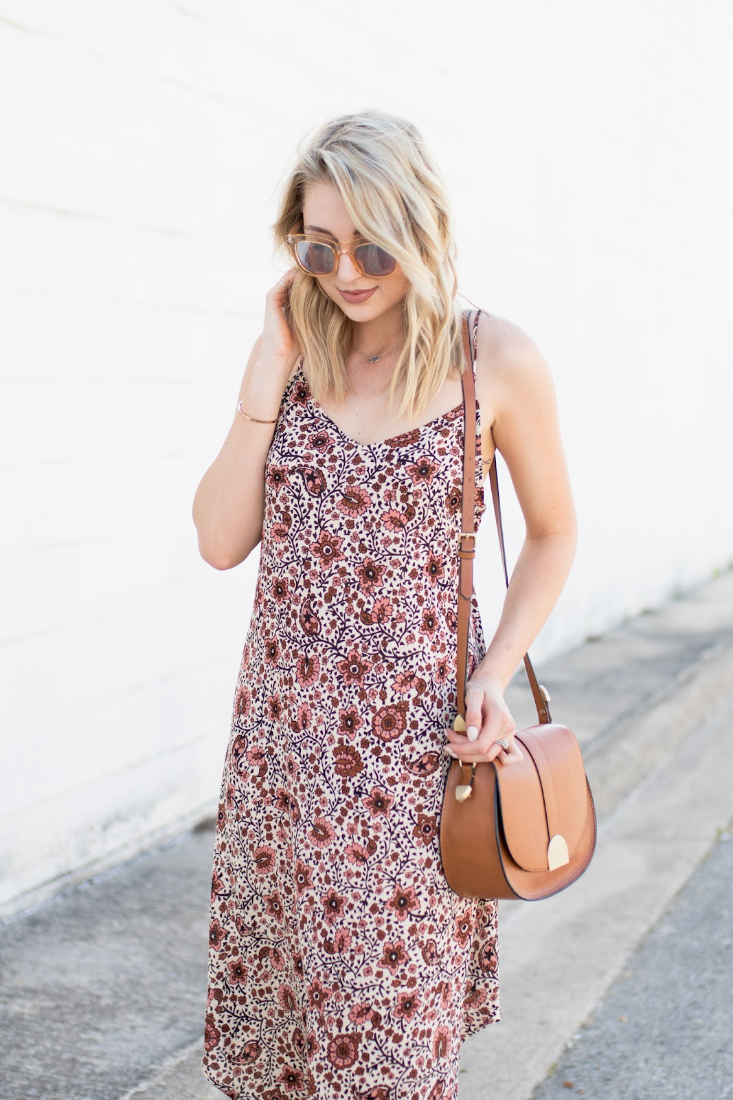 Pink and brown paisley print