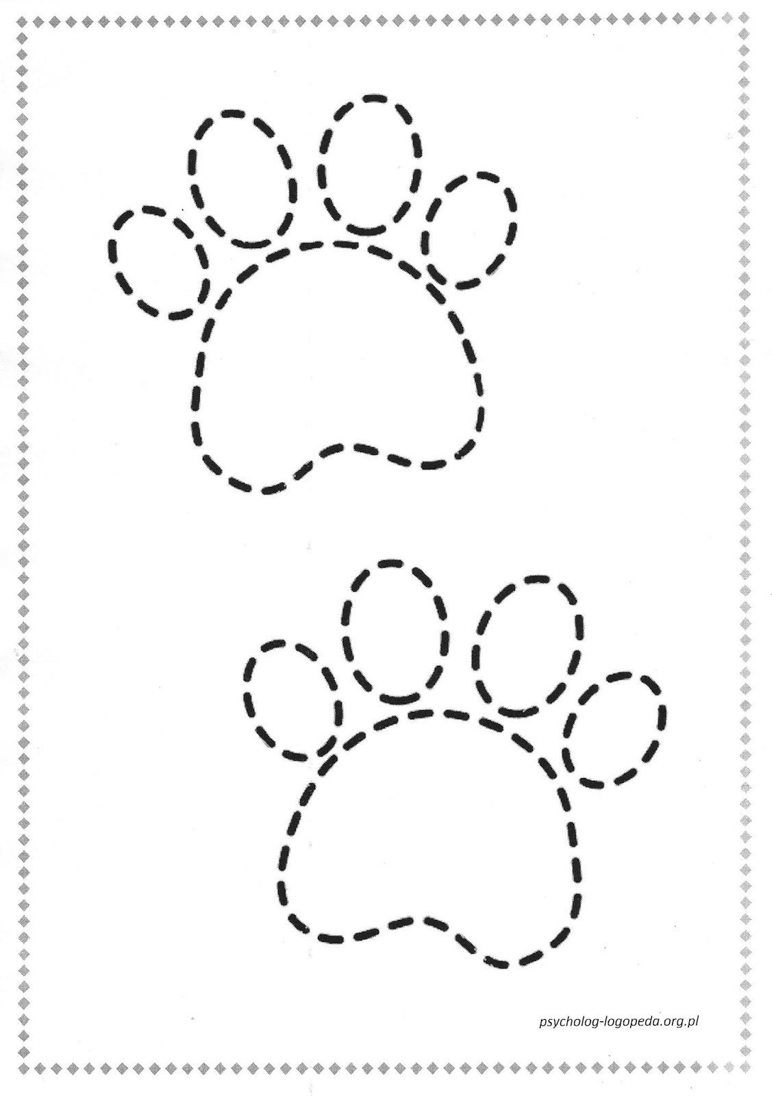 Odbicia psich łapek - wodzenie po śladzie - free printable