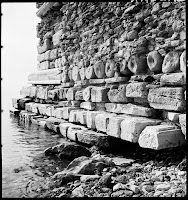 Remains of a  tower in Coastal Fortifications of the Great Palace of the Marmara Sea, February 1937 Columns and other building materials were recycled for the construction of the tower [Credit: © Nicholas V. Artamonoff Collection, Image Collections and Fieldwork Archives, Dumbarton Oaks]