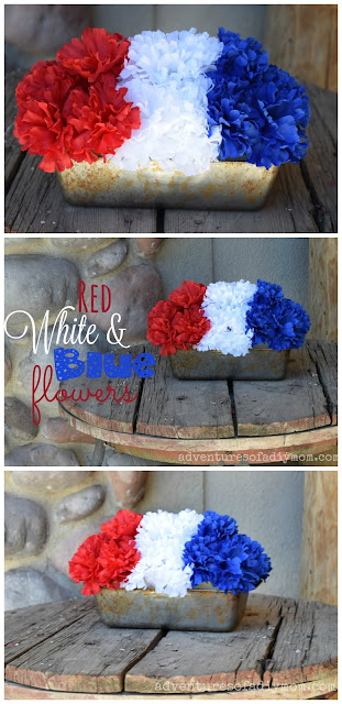 red white blue flowerpot