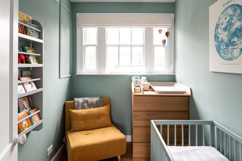 Dormitorio infantil pintado de verde
