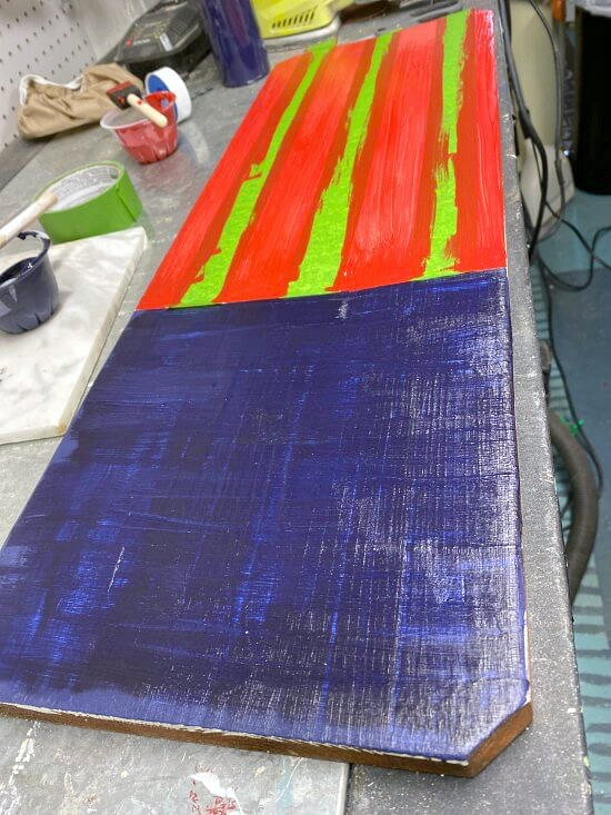 Adding stripes with painter's tape for an American flag