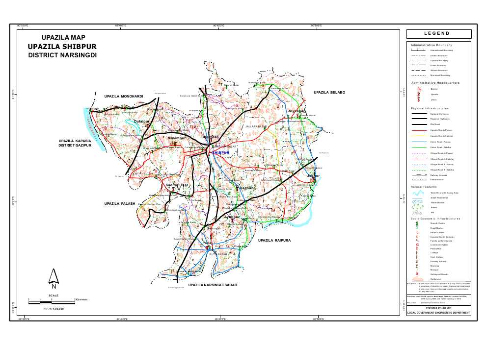 Shibpur Upazila Map Narsingdi District Bangladesh