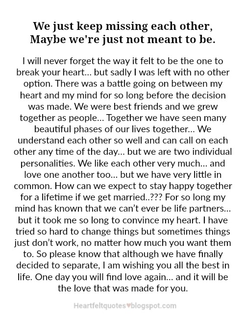 50+ Great We Are Not Meant To Be Together Quotes