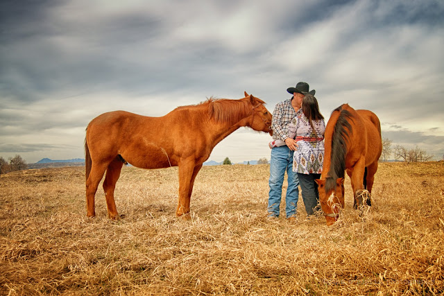 an engagement photo of a couple kissing, with their two horses in colorado