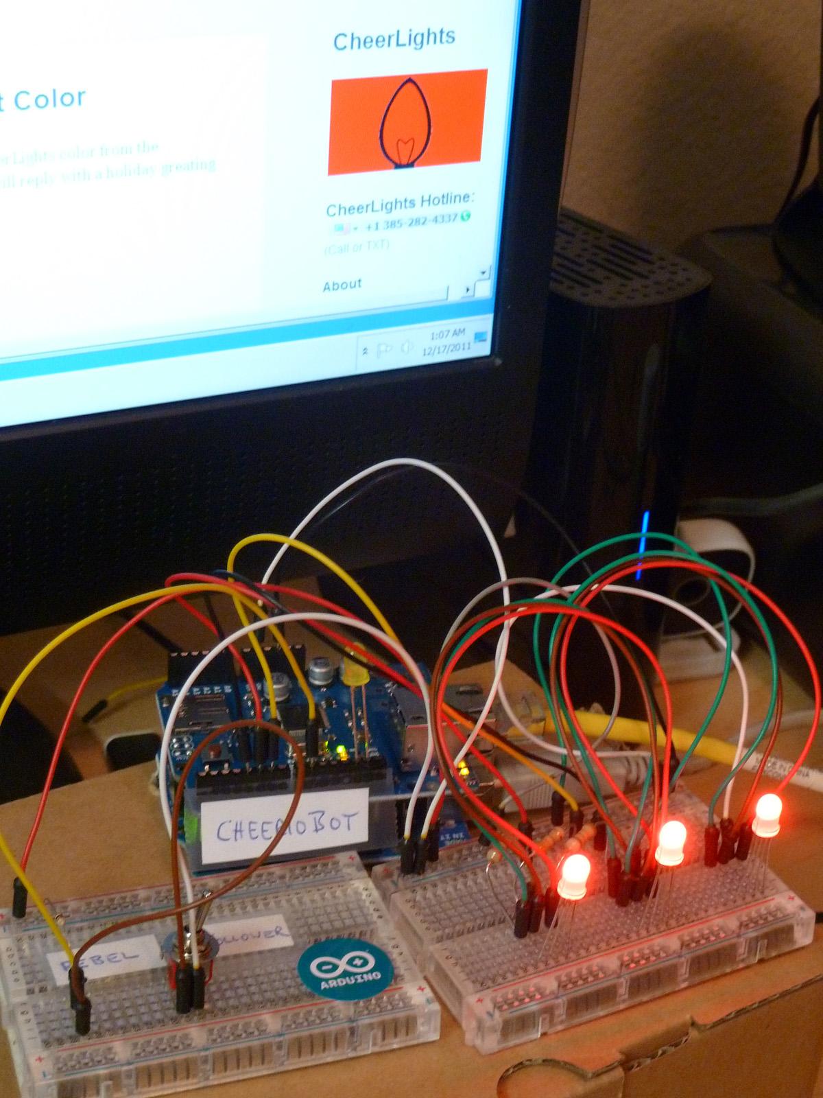 Arduino Ethernet CheerioBot - A CheerLights robot