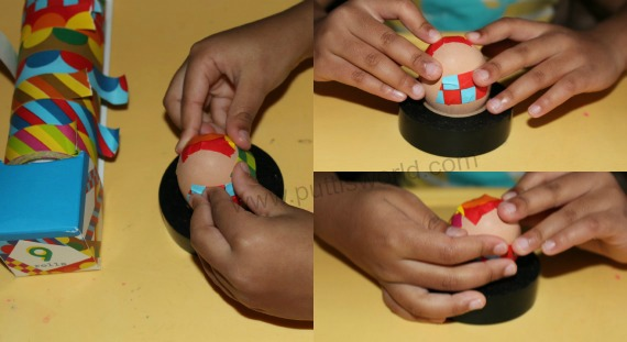 Easy Egg Decorating with tape For Kids