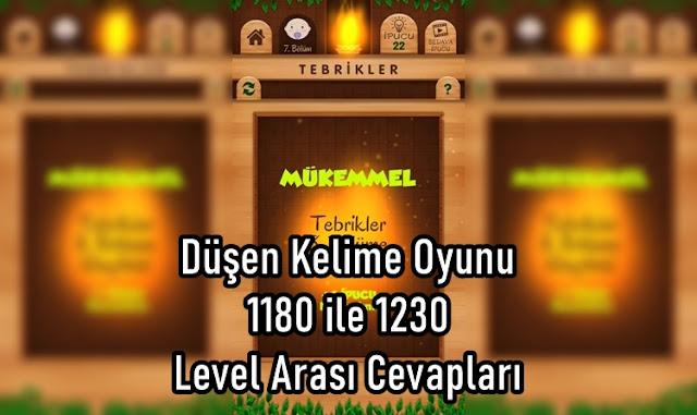 Düşen Kelime Oyunu 1180 ile 1230 Level Arasi Cevaplari