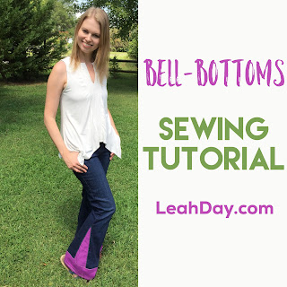 Bell-bottoms sewing tutorial video by Leah Day