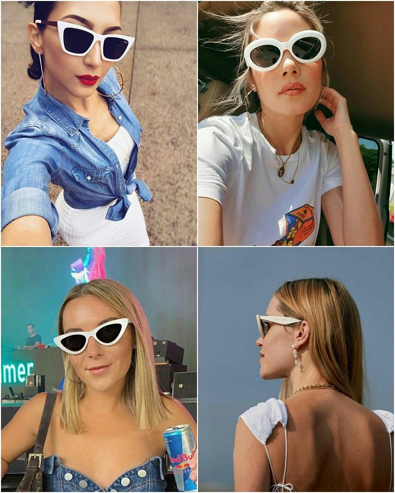 Tendência verão óculos de sol brancos