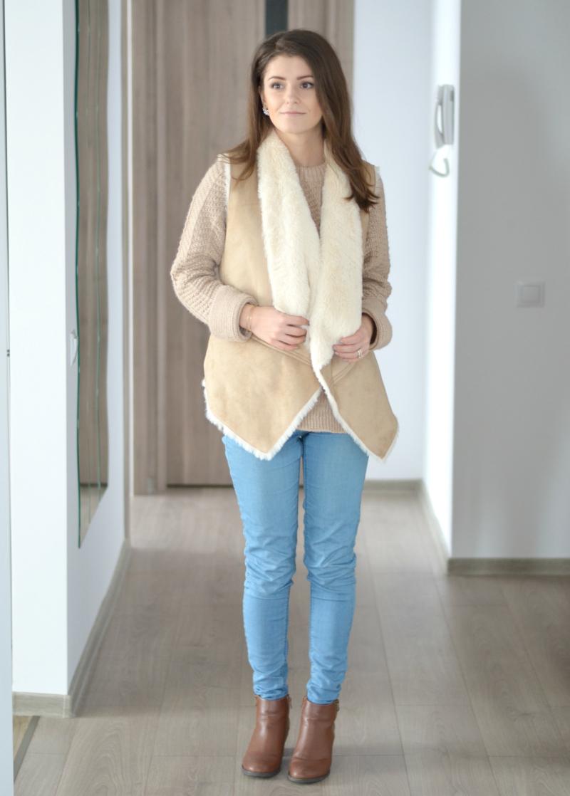 beige camel winter outfit with faux fur vest