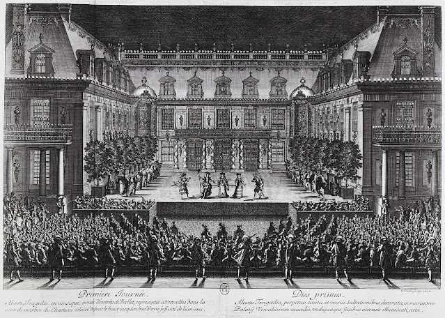 Jean-Baptiste Lully and Philippe Quinault's opera Alceste being performed in the marble courtyard at the Palace of Versailles, 1674
