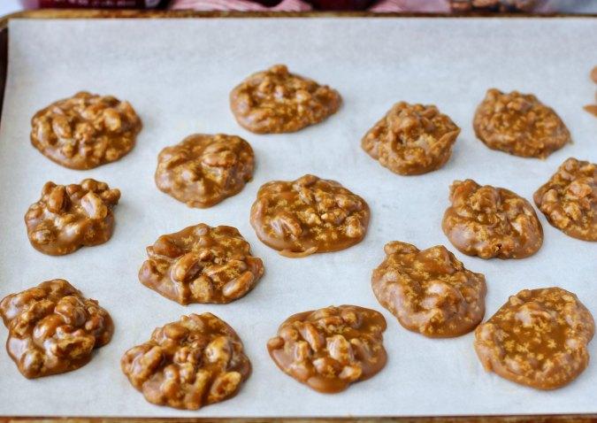 Homemade Pecan Pralines on a sheet pan