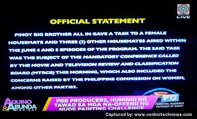 PBB Producers Apologizes To all About The Nude Painting Challenge part1