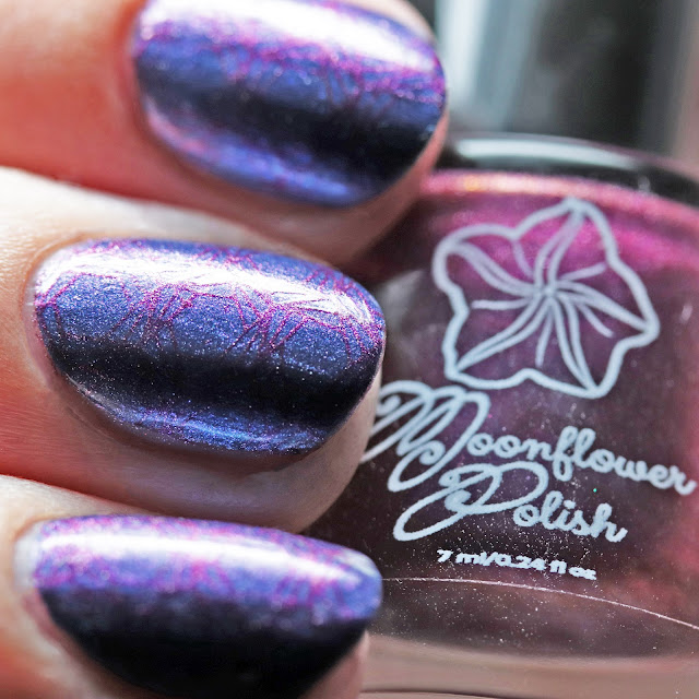 Moonflower Polish Violet Dusk stamped over Autumn Moon using Über Chic 22-03 plate