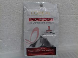 manfaat masker spa rambut loreal total repair www.angklinjohn.id