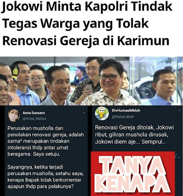 Renovasi Gereja Ditolak Jokowi Ribut, Giliran Mushola Dirusak Jokowi Diam Saja