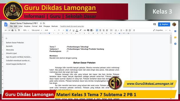 Materi Kelas 3 Tema 7 Subtema 2 PB 1