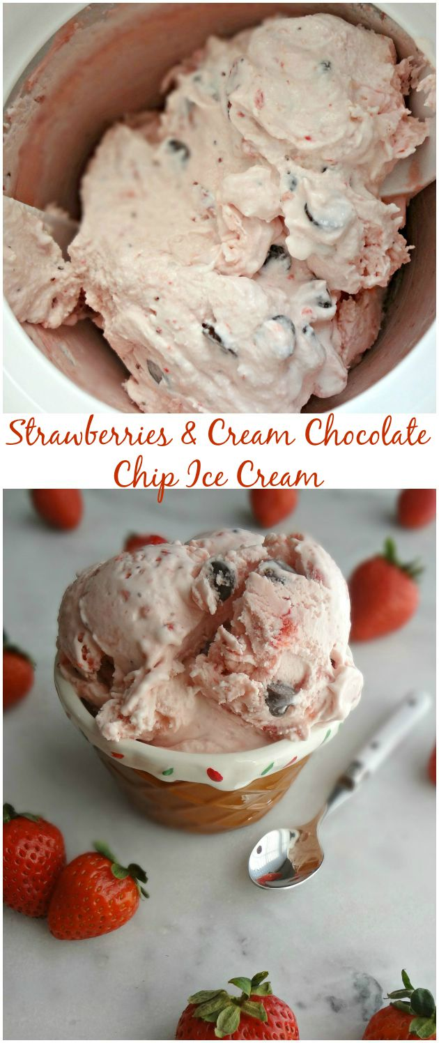 Strawberries & Cream Chocolate Chip Ice Cream {Easy, No Cook, Egg-free}