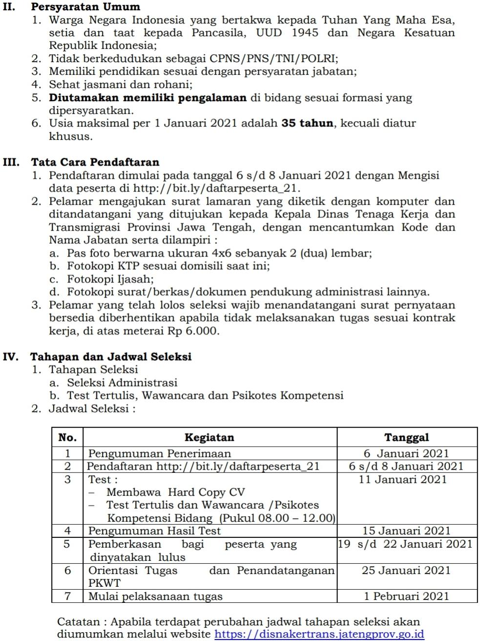 Rekrutmen Tenaga Teknis Non ASN Dinas Tenaga Kerja dan Transmigrasi Provinsi Jawa Tengah Tahun Anggaran 2021