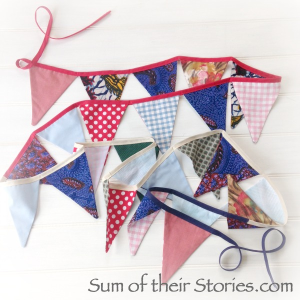 Bunting made from scraps of fabric