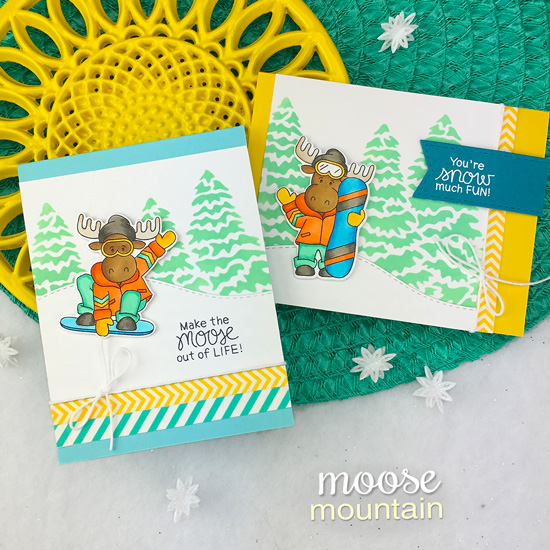 Snowboard Moose Cards by Jennifer Jackson | Mouse Mountain Stamp Set and Evergreens Stencil by Newton's Nook Designs #newtonsnook #handmade