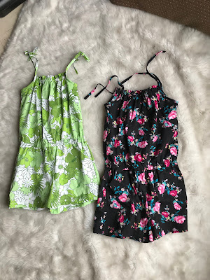 Green floral and a black floral rompers made from the Purl Soho Summer Romper sewing pattern.