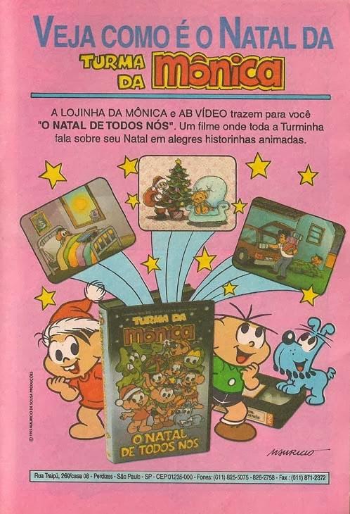 Propaganda antiga do VHS da Turma da Mônica com história natalina em 1993