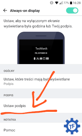 Ustawianie podpisu na wygaszonym ekranie