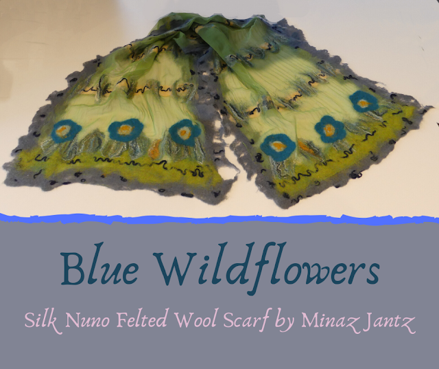 Blue Wildflowers Silk Nuno scarf by Minaz Jantz