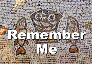 Remember me imposed on Eucharistic mosiac - Chorus: Take and eat, this is my body, broken on crosses too lonely to mention. Take and drink, this is my blood, spilled on your alleys and lost in your hallways. Remember me, remember me. Take and eat, this is my gift myself, given in love in the face of rejection. Take and drink, this is my life. Know it's my pledge now to be with you always. Remember me, remember me. 1 I couldn't be here. Remember me. I live all alone. Remember me. I walk on your streets and sleep by your highways. Remember me, remember me. 2 I ride on your bus. Remember me I sit in your jails. Remember me. I live in your sick beds and wait for your footsteps. Remember me, remember me. 3 I count on your love. Remember me. I dance in your eyes. Remember me. I put on your ring and give you my lifetime. Remember me, remember me. 4 I live in your house. Remember me, I play in your yard. Remember me I kiss you good night and call you my father. Remember me, remember me.