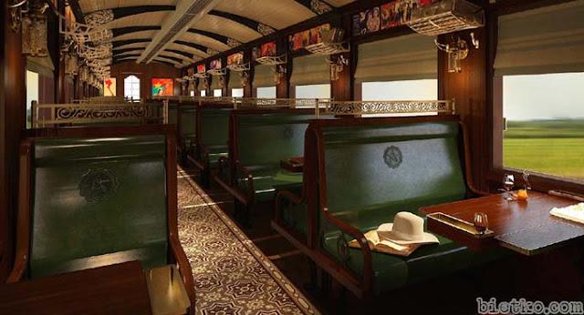 Thiết kế nội thất trong toa hành khách của đoàn tàu chạy hơi nước