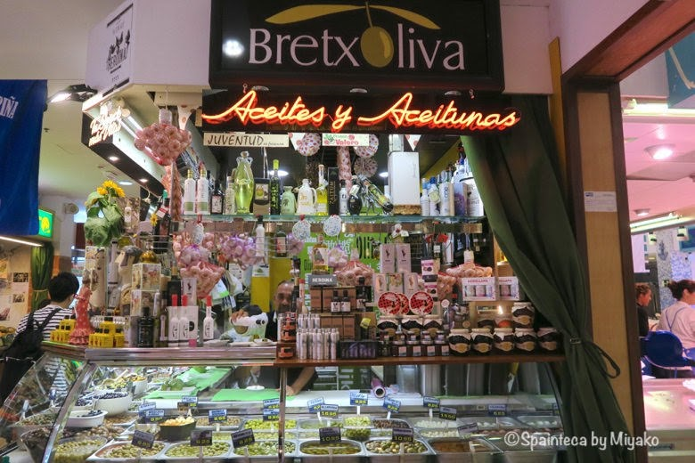 Mercado de La Bretxa, 北スペイン美食の町サン·セバスティアンのラ·ブレチャ市場のスペインの特産物オリーブオイル専門店