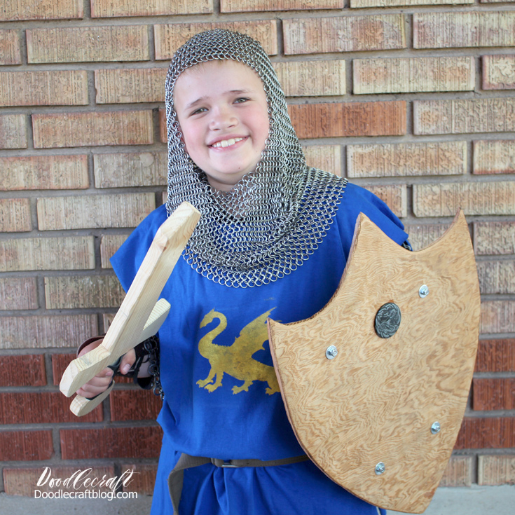 Handmade costume of knight, paladin or king with chainmaille, sword, tunic and shield diy's.