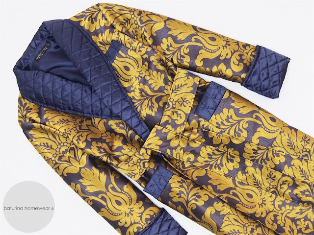 mens luxury dressing gown quilted silk jacquard paisley designer robe gold navy blue vintage style english gentleman bathrobe housecoat