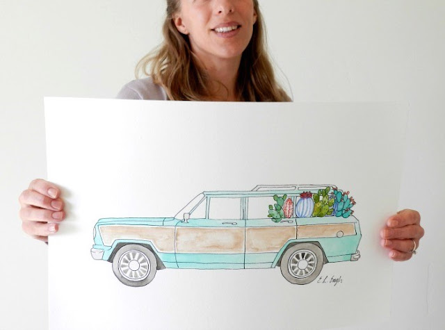 Mint Wagoneer illustration by Elise Engh: Grow Creative Blog