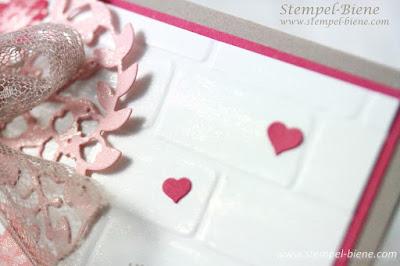 Valentinstagskarte, Karte mit Herz, Stampinup Blüten der Liebe; Stempel-Biene; Karte Verlobung; Stampin' Up Demonstrator; Stampinup bestellen