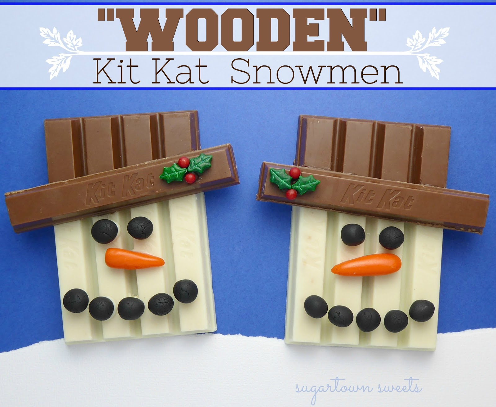 Sugartown Sweets Wood Pallet Kit Kat Snowmen Craft
